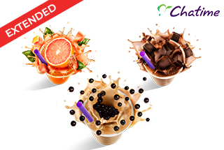 Three different Chatime drinks on white background. Promo extended!