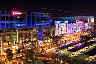 Resorts World Manila facade lit up at night