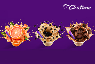 Three different Chatime drinks on violet background