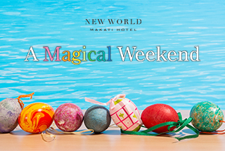 New World Makati Hotel logo with easter eggs placed by the pool side as background